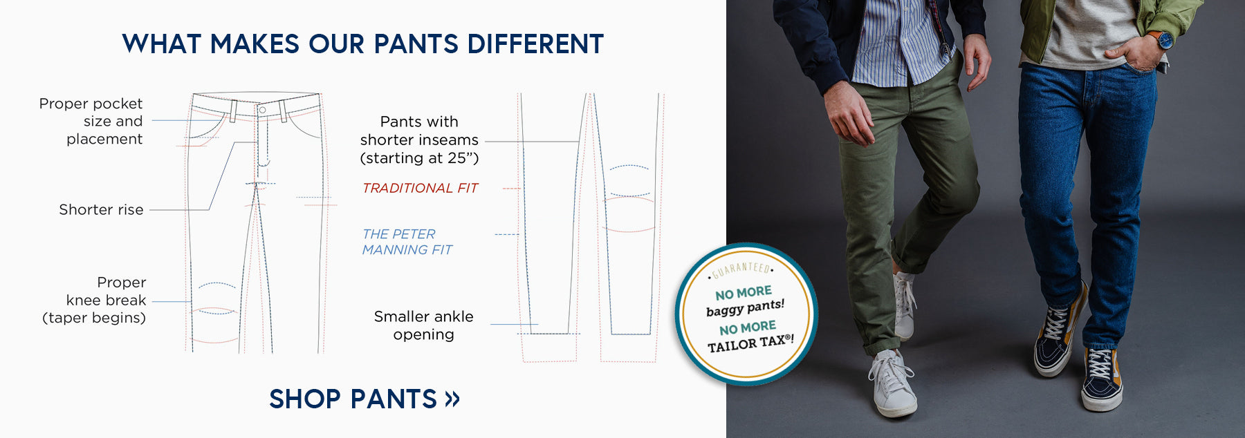 Find out what makes our pants different - Shorter Inseams, Shorter Rise, Proper Pocket Size -  Shop Pants