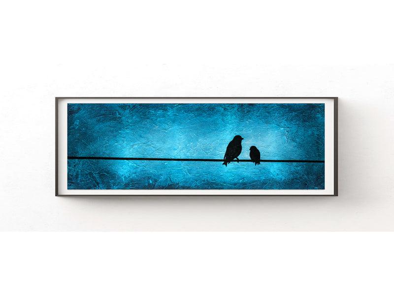 12x36 panoramic printable art download bird blue