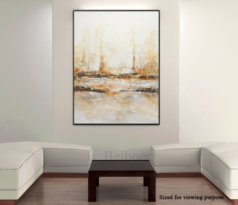 """Taken"" Original abstract oil painting sand taupe art"