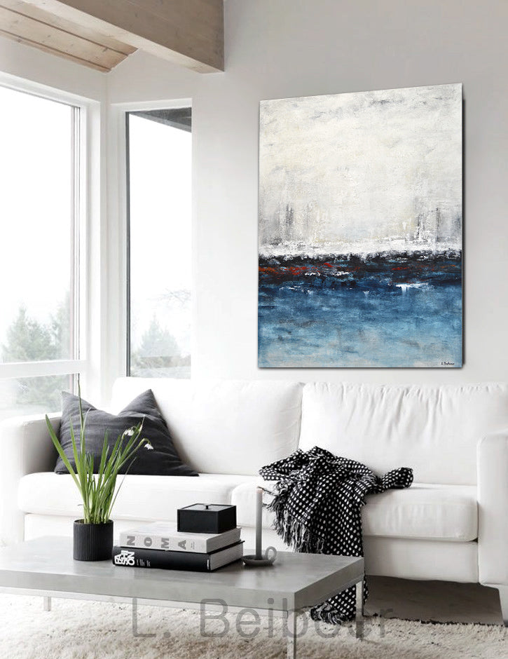 """Escape"" abstract painting modern blue sand wall art"