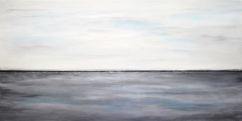 """Gray Waters"" Panoramic abstract landscape painting"