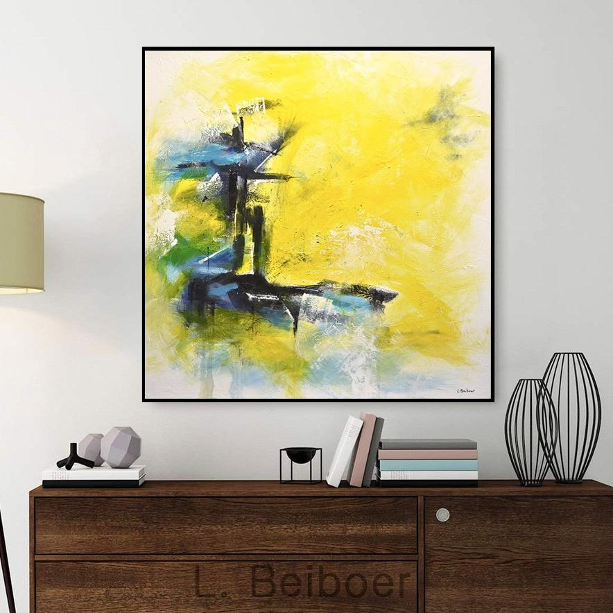 yellow artwork original painting interior design artist
