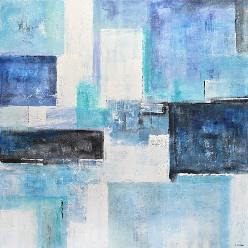 white blue blocks abstract painting artwork