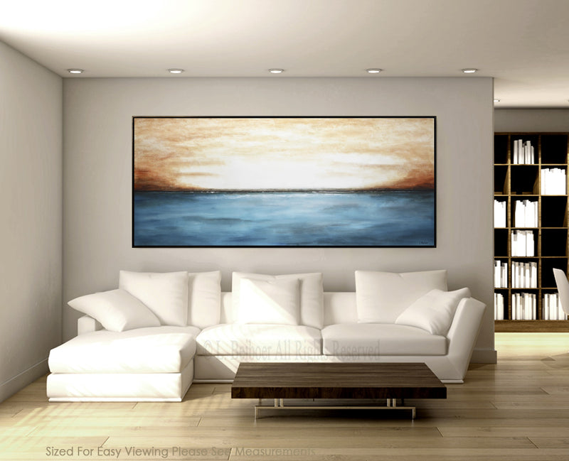 blue landscape abstract oil painting