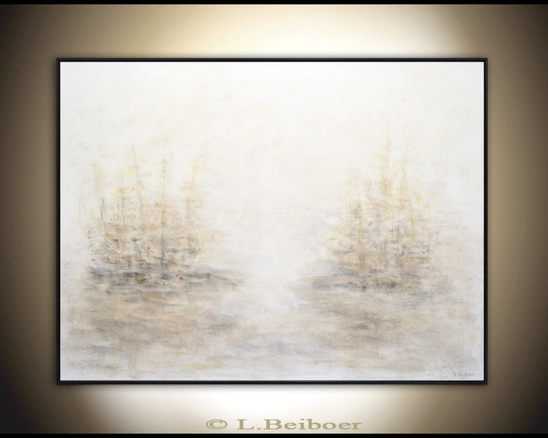 """Hazy Season"" abstract painting trees earth tones artwork"