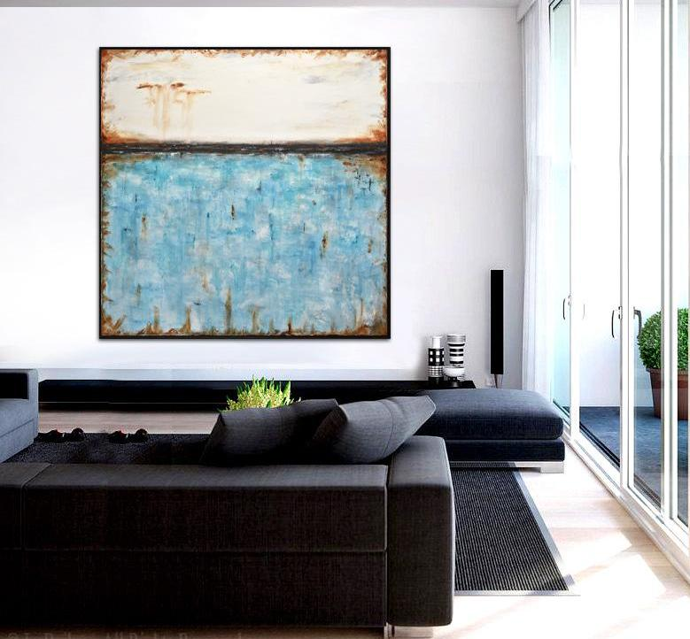 large blue abstract painting wall art beiboer