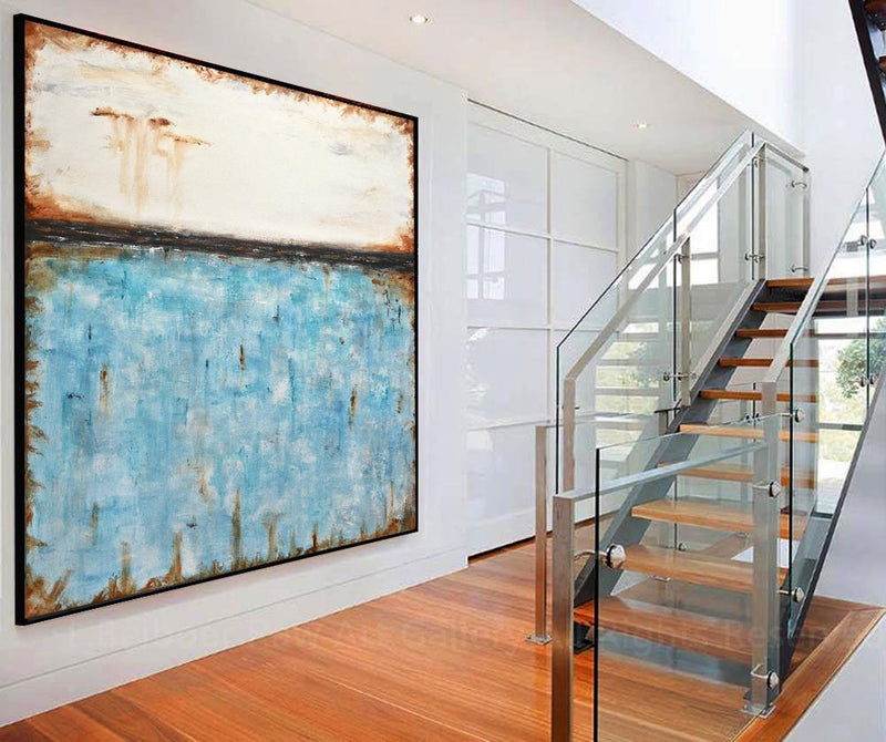 white blue abstract art turquoise modern painting beiboerfineart.com