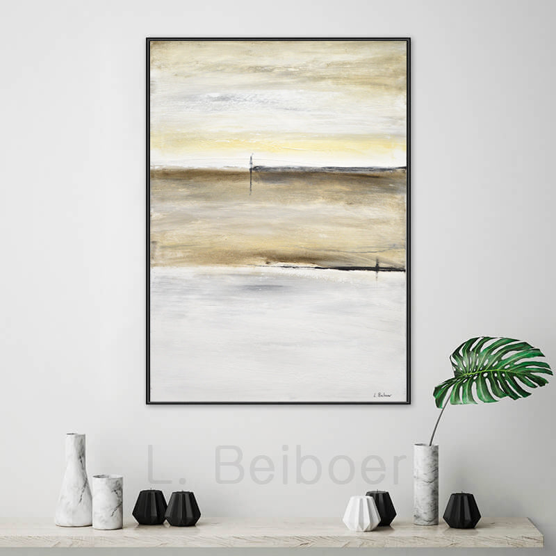 24 x 36 original abstract painting white sand beach