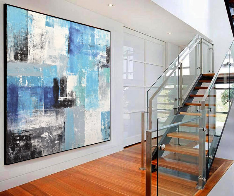 large square blue abstract painting oversized wallart home decor