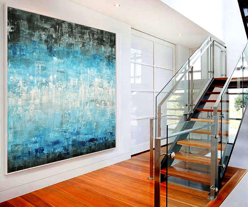 """Looking Through"" Original blue white abstract painting"