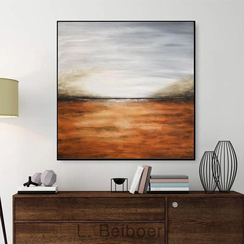 landscape painting gray sienna amber