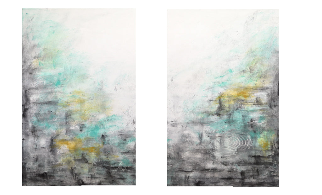 """Shadows"" set of 2 Large original abstract painting"