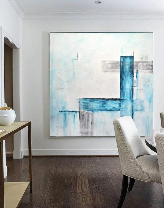 white blue large XXL abstract painting