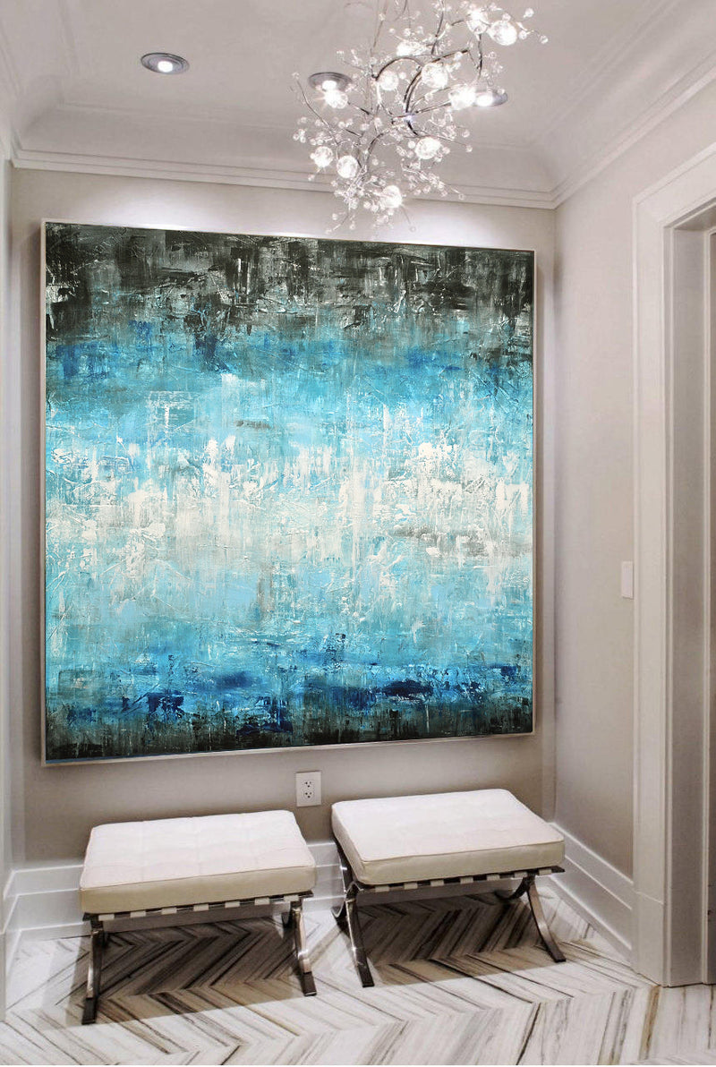 blue white abstract painting