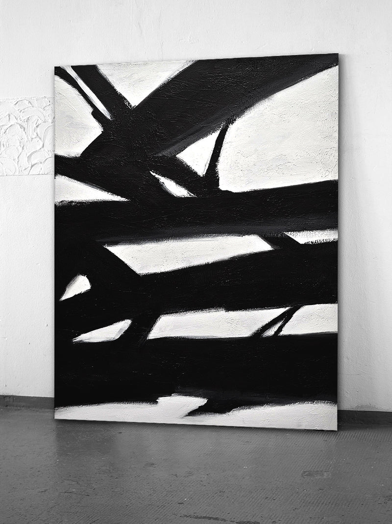 black and white abstract painting kline