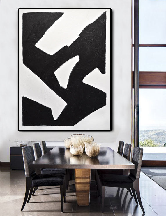 """Elevate"" Abstract minimalism black and white painting"