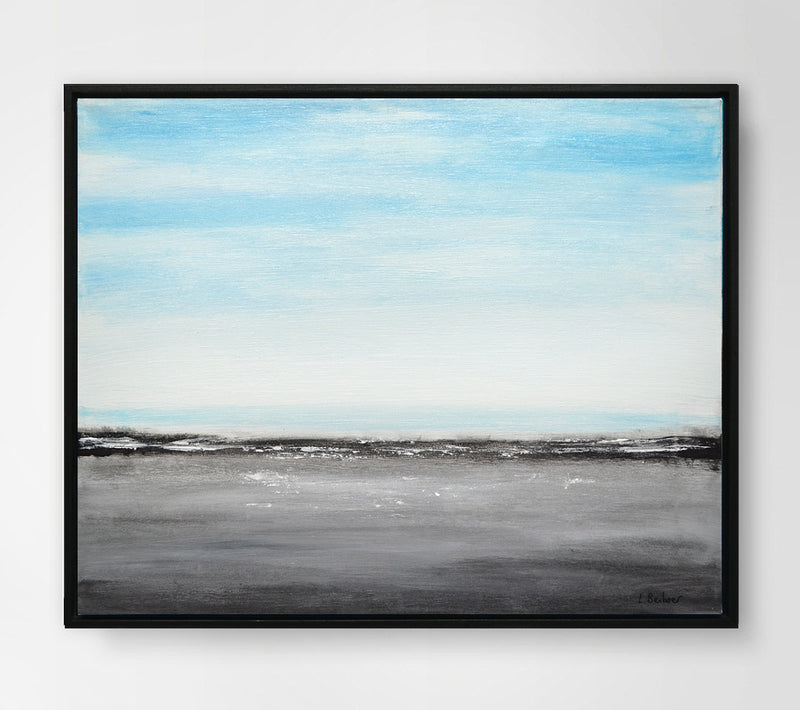 blue gray landscape painting artwork 16 x 20