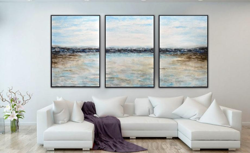 set of 3 paintings blue abstract landscape