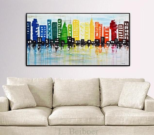 cityscape abstract oil painting buildings textured