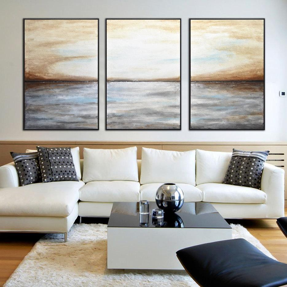 set of 3 paintings large abstract landscape art