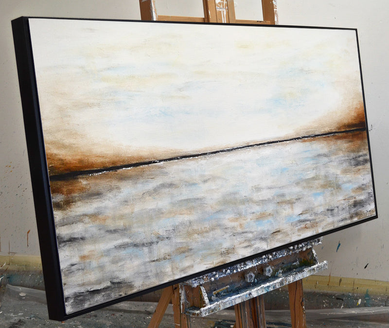 """The Waves"" Abstract art landscape panoramic artwork"