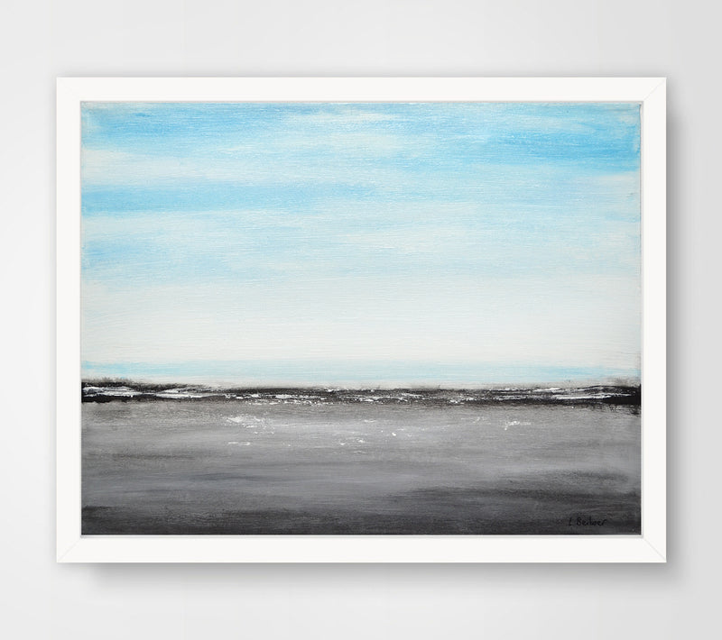 framed painting blue gray seascape landscape