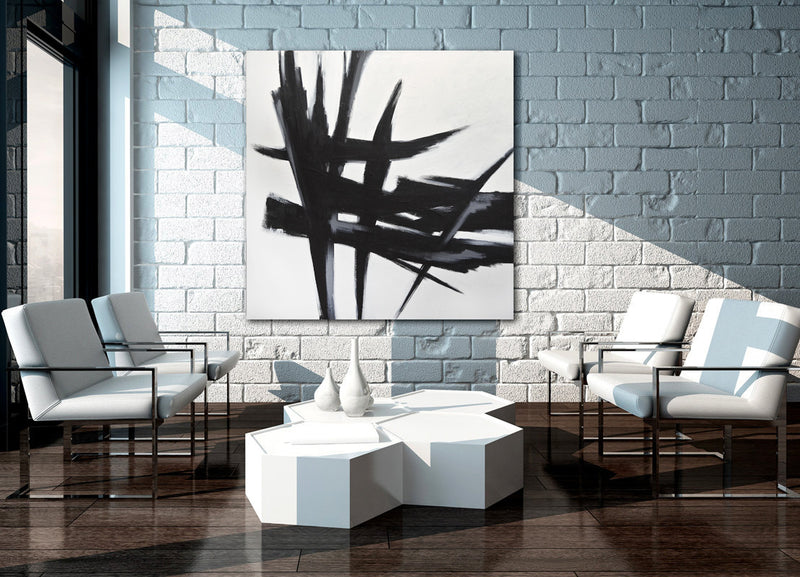 """Stay"" Black and white minimalist abstract art"