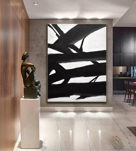 minimalist abstract painting black and white
