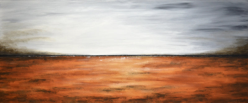 """Under the Gray Sky"" Abstract art landscape panoramic"
