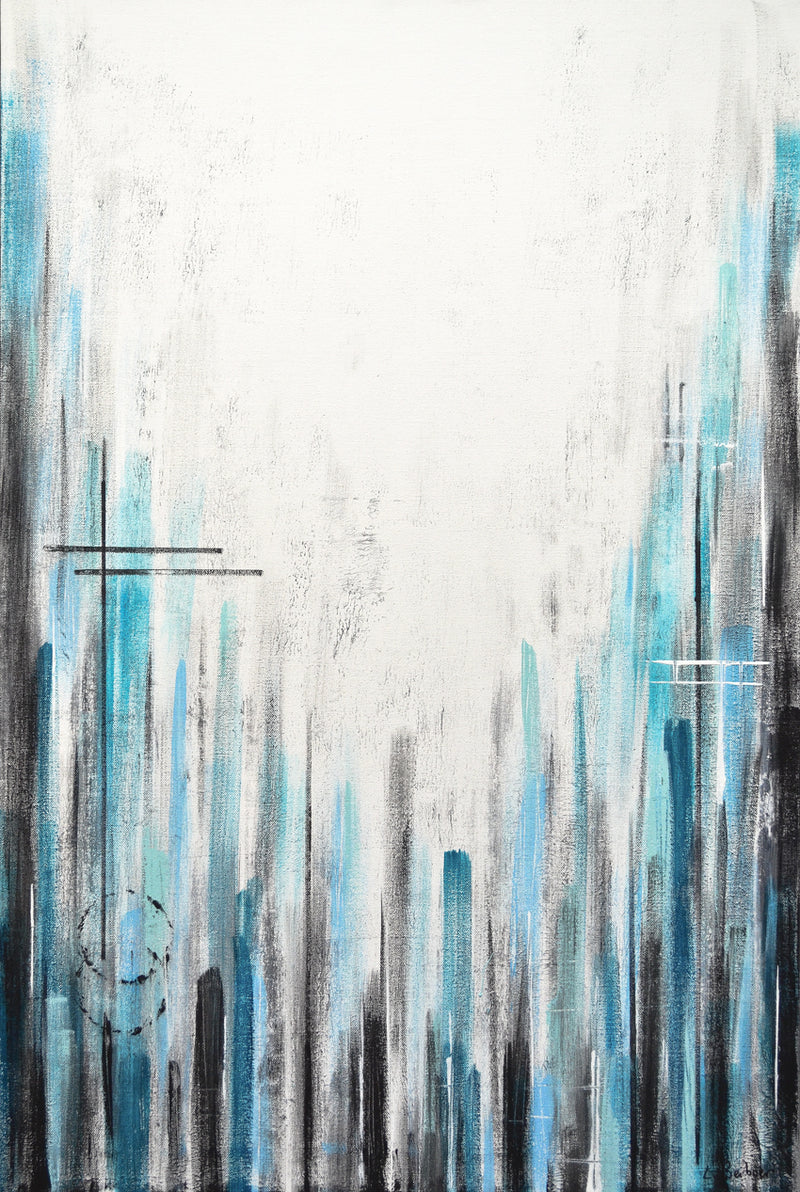 """Straight Face"" blue white striped abstract painting"