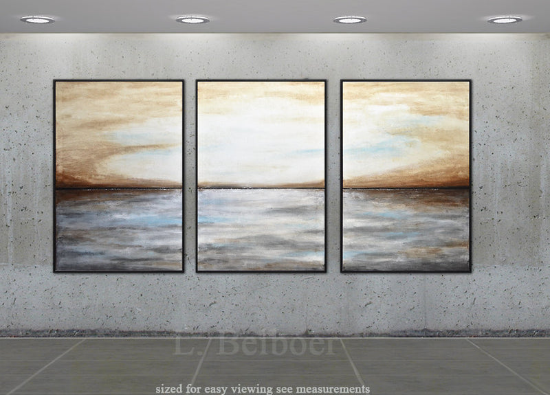 3 piece triptych set of 3 landscape paintings