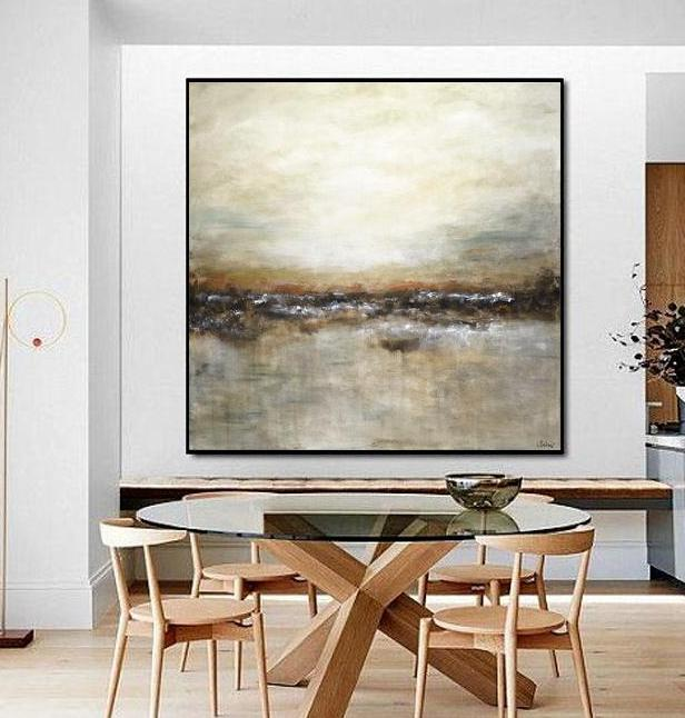 large tan brown landscape painting beiboerfineart