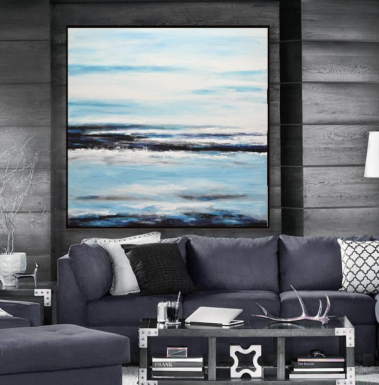 large landscape painting navy blue