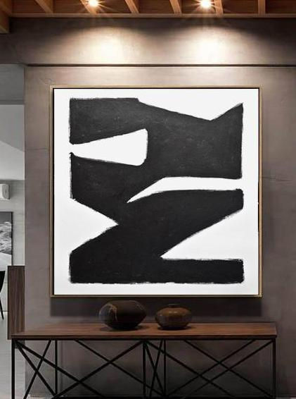 large minimalist black and white painting