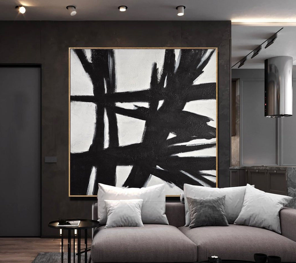 large black and white painting kline style