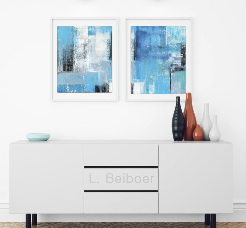 diptych prints wall art blue abstract prints