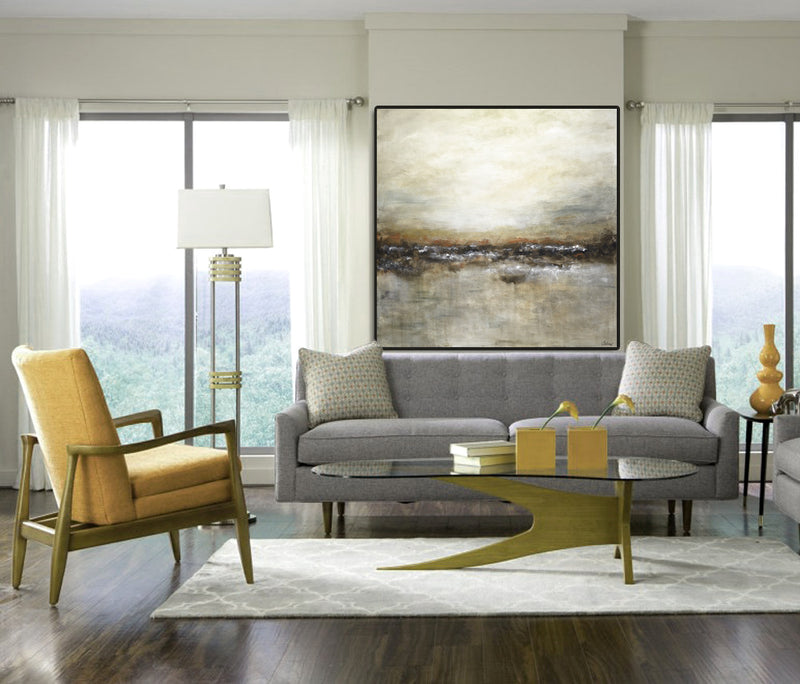 large abstract landscape seascape painting tan brown