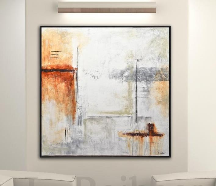 large square brown suede painting