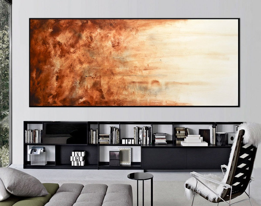 panoramic abstract brown amber painting