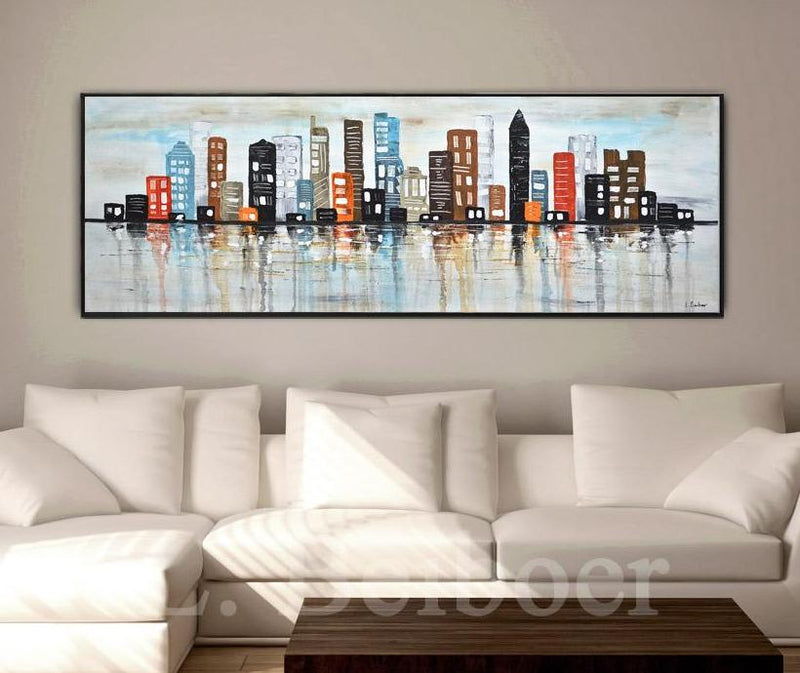 skyline painting abstract art buildings