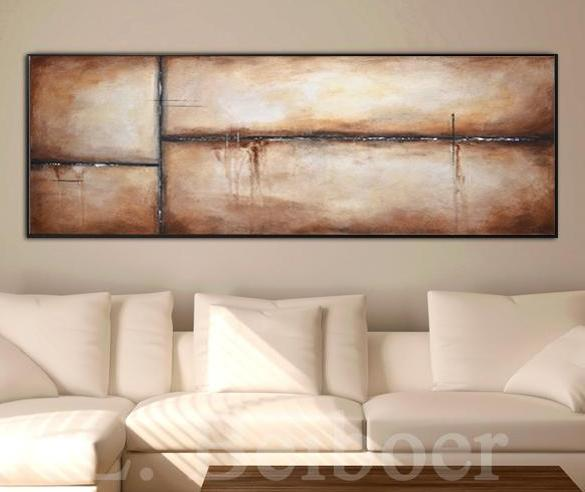 20 x 60 panoramic painting large abstract brown