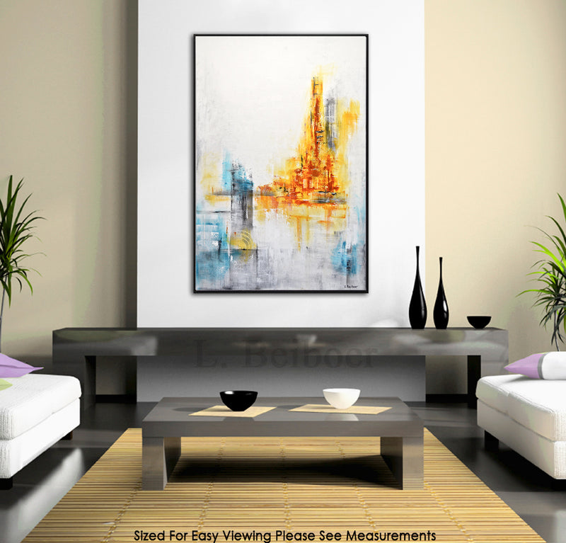 """The Chase"" White yellow 24x36 original abstract painting"