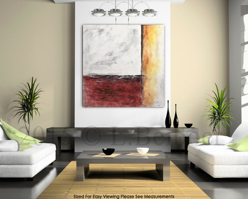 """Red Planet"" Abstract painting 36 x 36 wall art design"