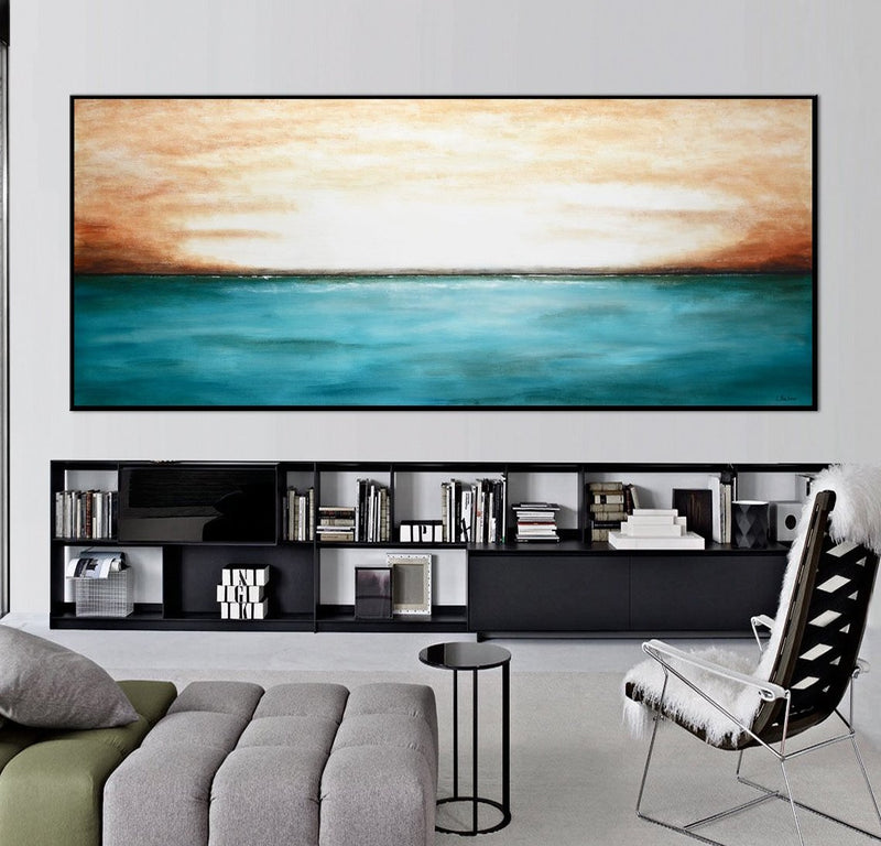 ocean blue landscape seascape original painting
