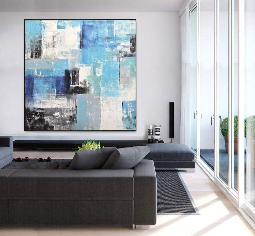 blue abstract painting modern art blocks original hand painted artwork
