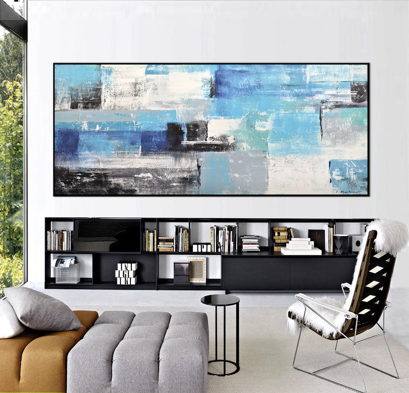 wall art panoramic abstract painting large blue artwork