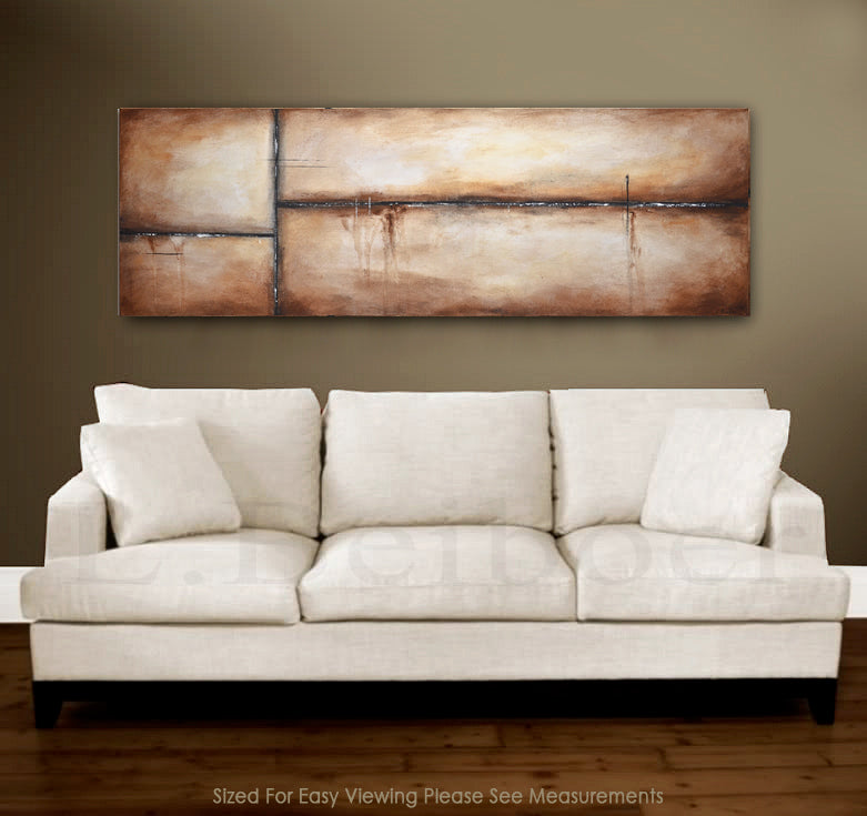 original brown abstract painting 20x60