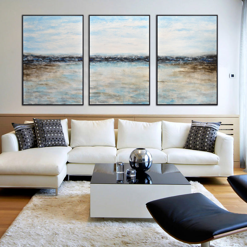 large set of 3 triptych landscape blue white artwork