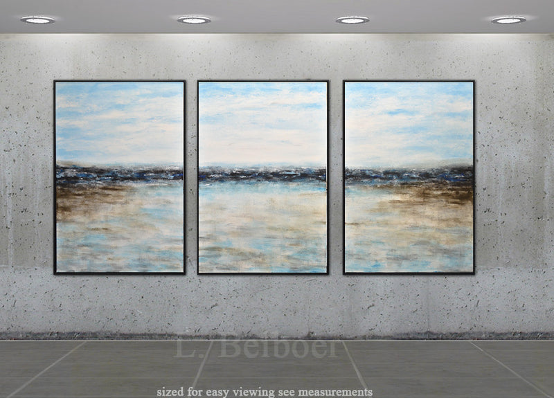 triptych set of three paintings abstract landscape