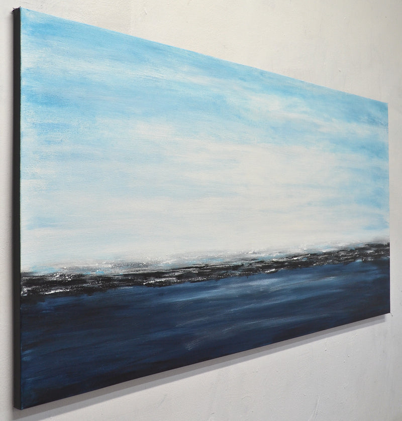 """Deep Blue"" abstract blue landscape ocean painting"